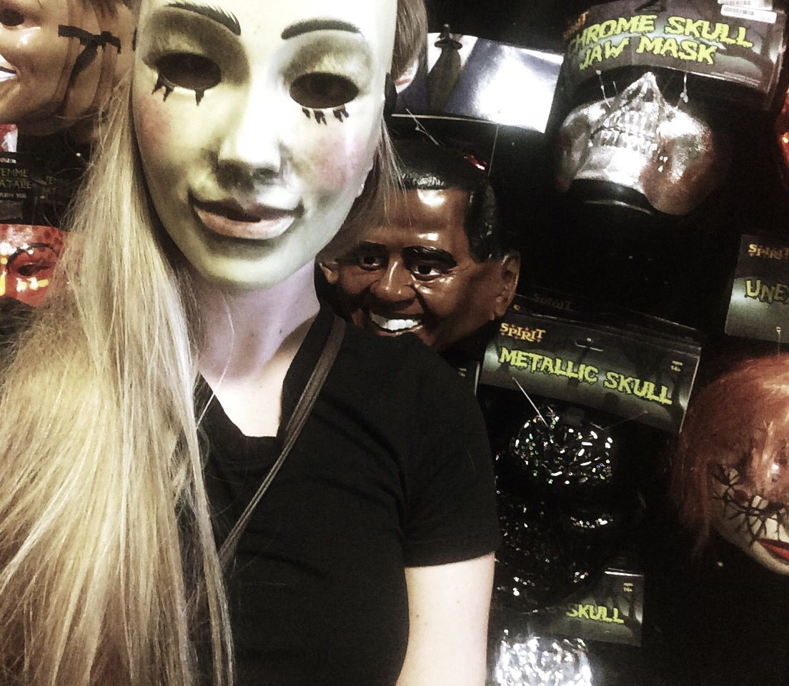 Here's a picture of my super creepy Purge mask from Spirit ...