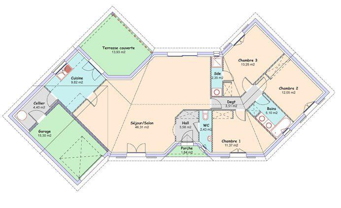 La maison Diamant  114,17 m² - Constructeur maisons MCA - 1er - plan de maison en v gratuit