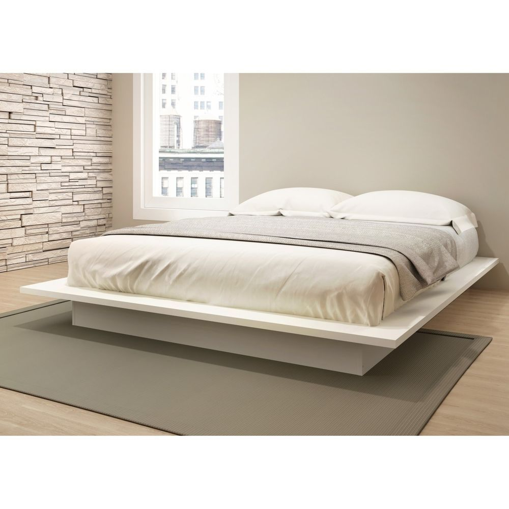 Best Low Profile Platform Bed Bedroom Furniture Queen White 640 x 480