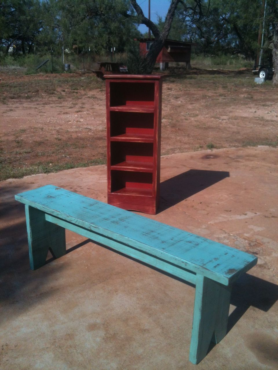 Country porch bench & red shelf unit Porch bench