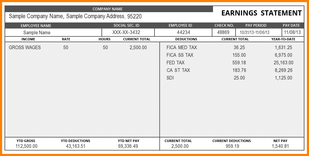 Pay Stub Template Word Document Statement Template Payroll