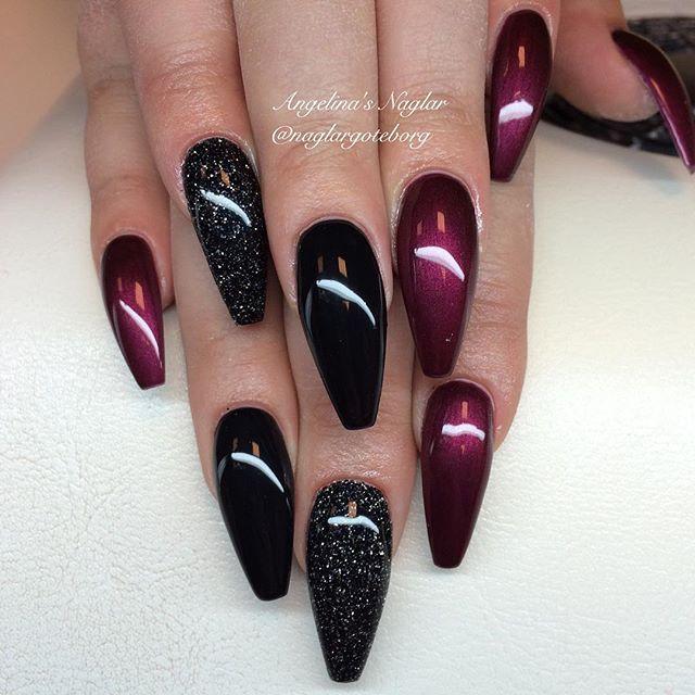Black Black Cherry Glittermix Maroon Nails Fancy Nails Fashion Nails