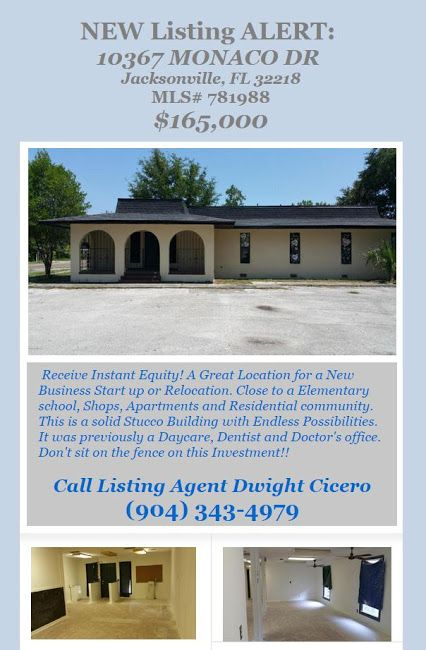 Just Listed Commercial Building for Sale. MLS# 781988,  10367 MONACO DR, Jacksonville, FL 32218, $165,000. Brought to you by INI Realty Investments Inc., the first 100% Commission Real estate Office in Jacksonville, FL. www.100RealestateJax.com