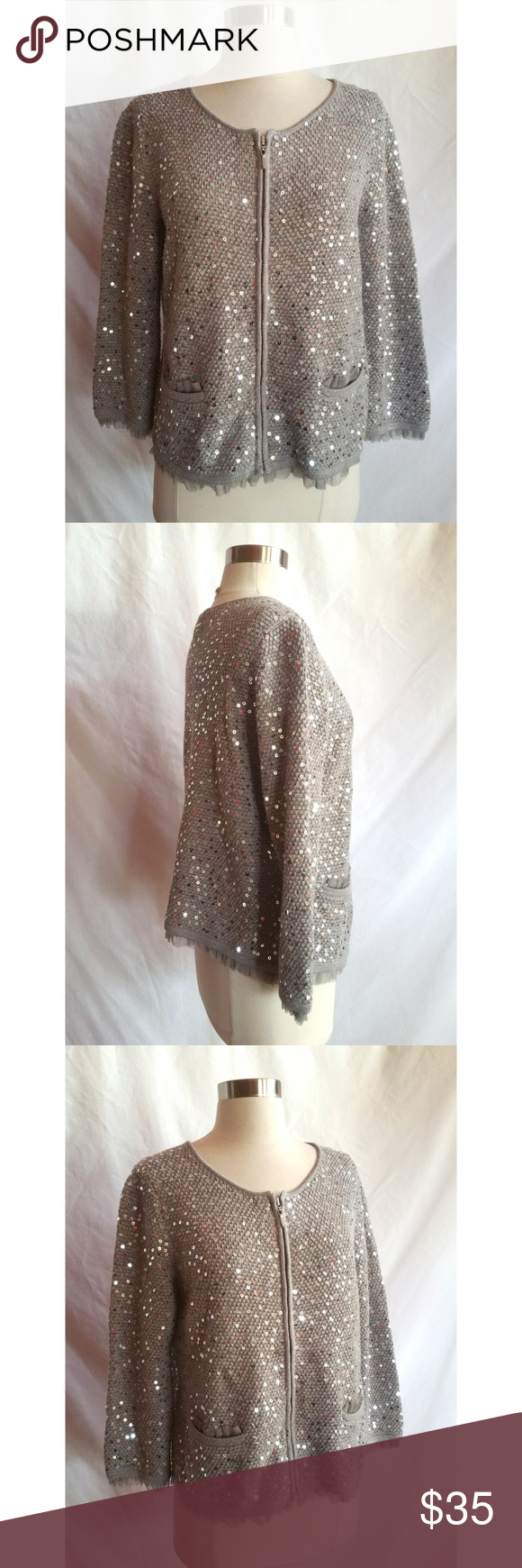 Chico's Size M Silver Gray Sequin Cardigan | Sequin cardigan, Hand ...