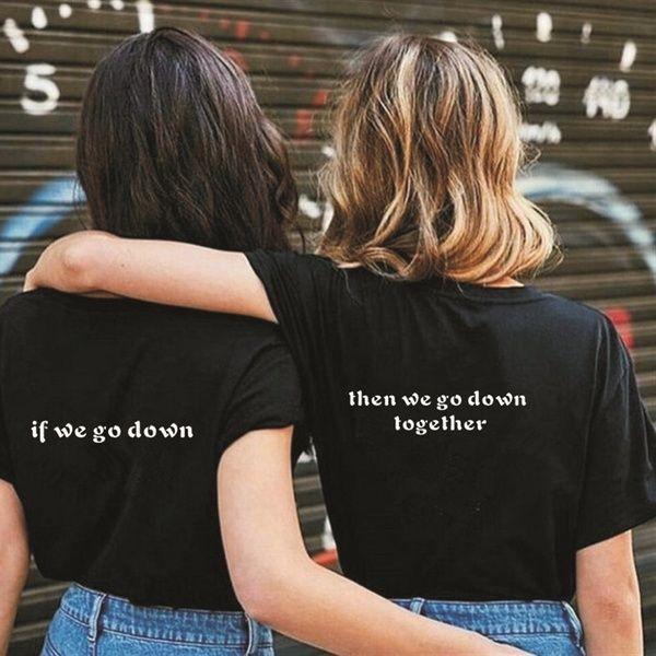 Casual Letter Printed Best Friend Matching T-Shirt BFF T Shirt Women Girls Lovers Couples Tee Shirt Femme Cotton Summer Tops