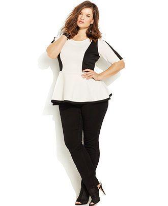 0f3efb3a685 Junarose Plus Size Colorblocked Peplum Top   Skinny Jeans - Trendy Plus  Sizes - Plus Sizes - Macy s
