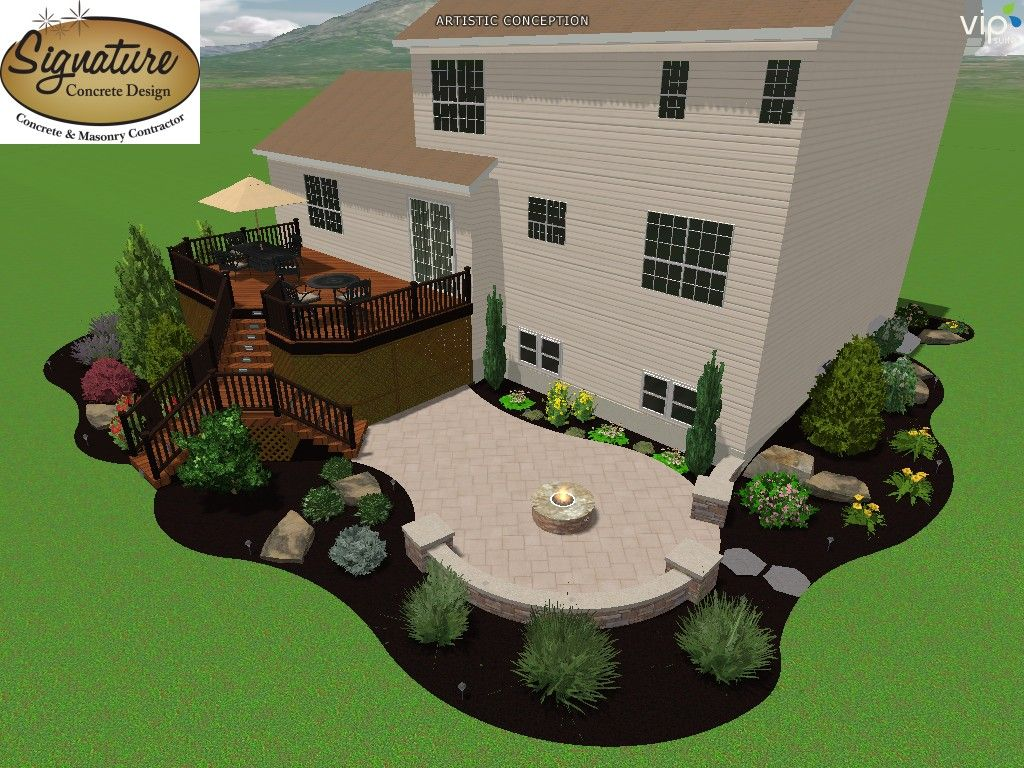 concrete patio with landscaping google search - Landscape Patio Design