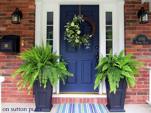Pin By Laura Hackler On Home Reno Red Brick House Front Porch Decorating Navy Front Door