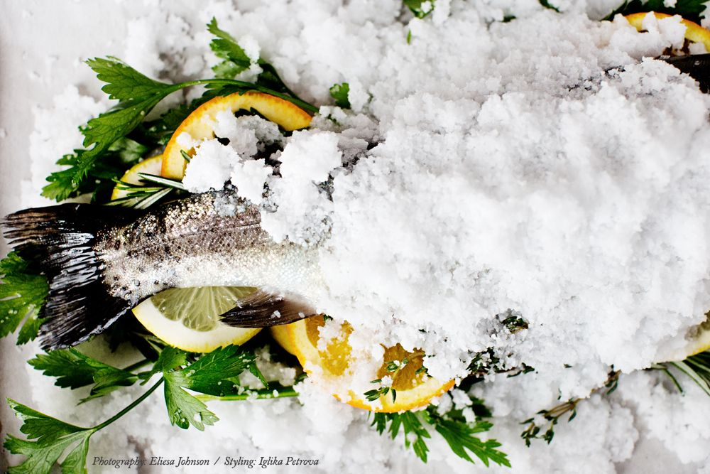 Salt baked fish with citrus and herbs