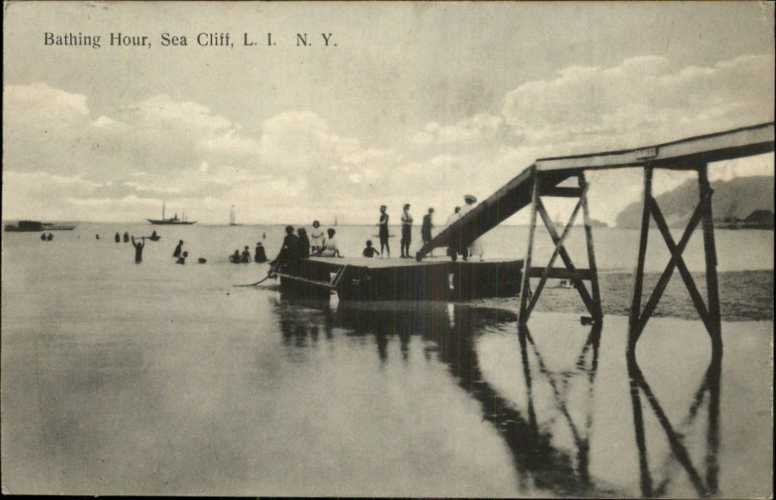 Sea Cliff, NY. Bathing Hour. Postmarked 1914 with a 1 cent stamp.  Published by Jos. E. Britt, Cigars, Staty & Souvenirs, Sea Cliff, L.I.  Made in Germany by the Excelsior company in Leipzig, Dresden, & Berlin. c1910 Postcard | eBay