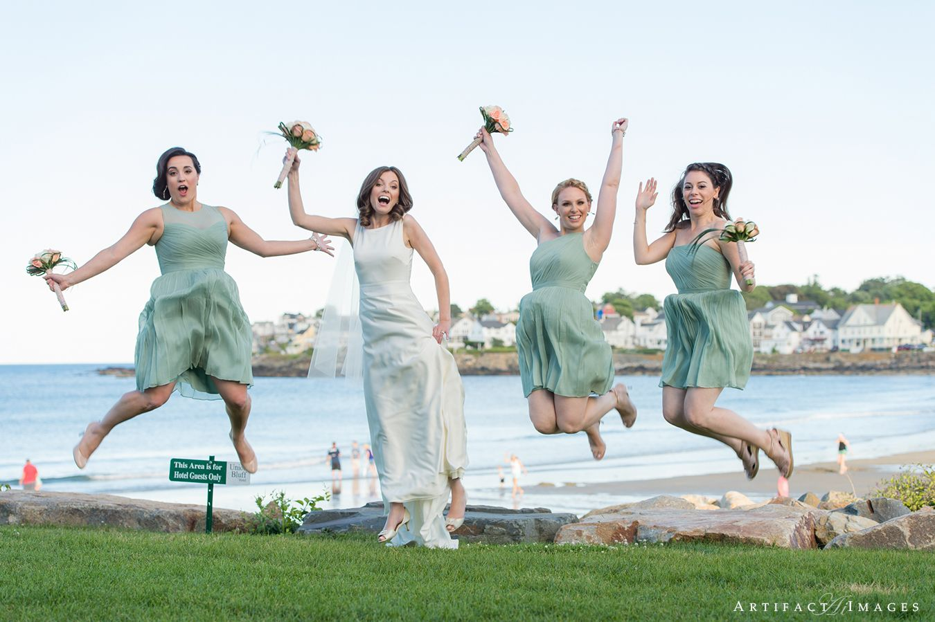 Bride & Bridesmaid Fun ~ Jump!!! Oceanside Wedding at the Union Bluff Meeting House, York, ME by Artifact Images NH, ME, MA Wedding Photographers