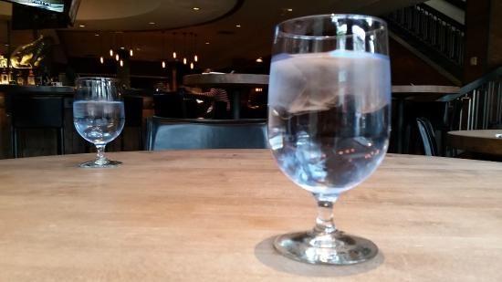 Cool blue toned water glasses, Saltlik  |  221 Bear St, Banff, Banff National Park, Alberta T1L