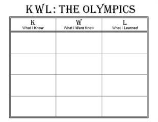 Free Printable Olympic Themed KWL Chart  Fun Learning Olympics