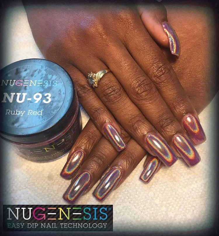 Dipping Powder Nugenesis Holo Powder Manicure Dipped Nails