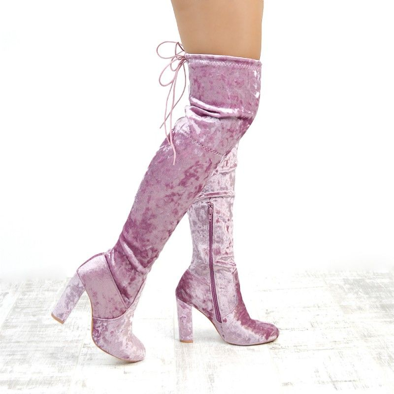 d60a86422371 £29.99 www.essexshoes.co.uk ESSEX GLAM WOMENS BRONTE PASTEL PINK VELVET  LADIES STRETCH THIGH HIGH OVER THE KNEE TIE UP BLOCK HIGH HEEL BOOTS