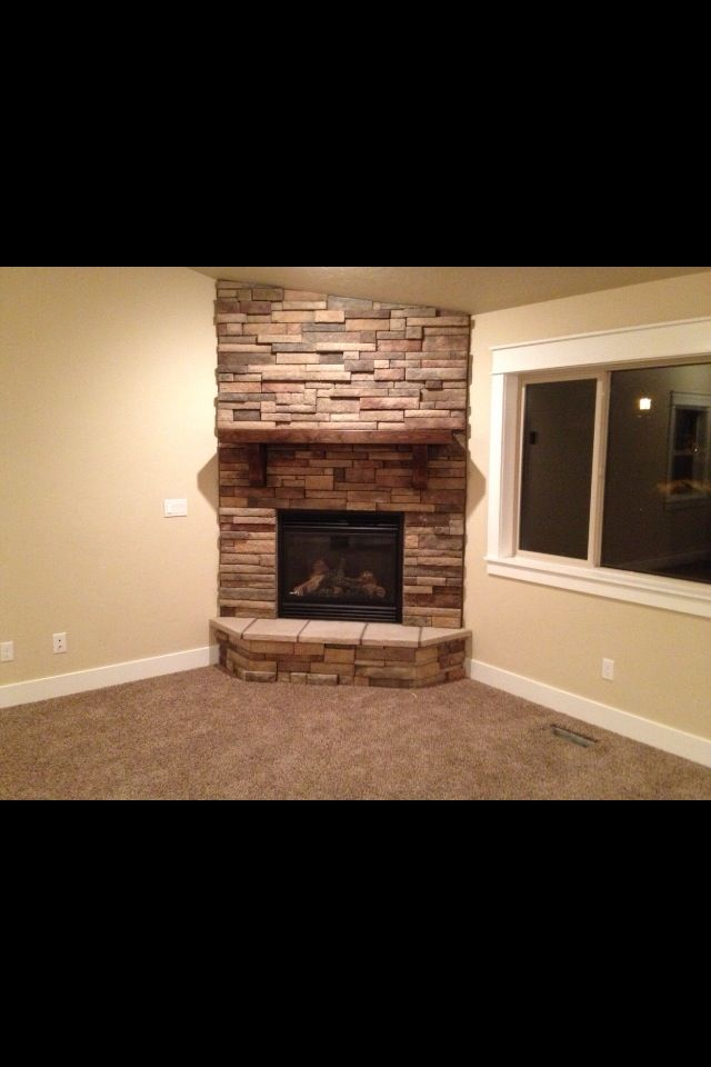 Fireplace Idea I Like It In The Corner Like This Corner Stone