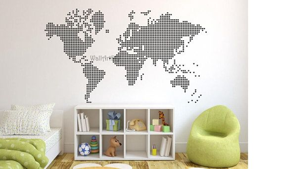 Large world map wall decal white world map wall by wallartdiy kids large world map wall decal white world map wall by wallartdiy gumiabroncs Image collections