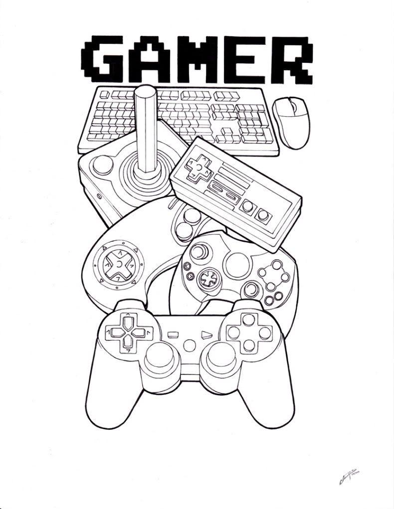 Gamer tattoo outline by spiderlaw on deviantart gamer tattoos pinterest - Dessin de rose ...