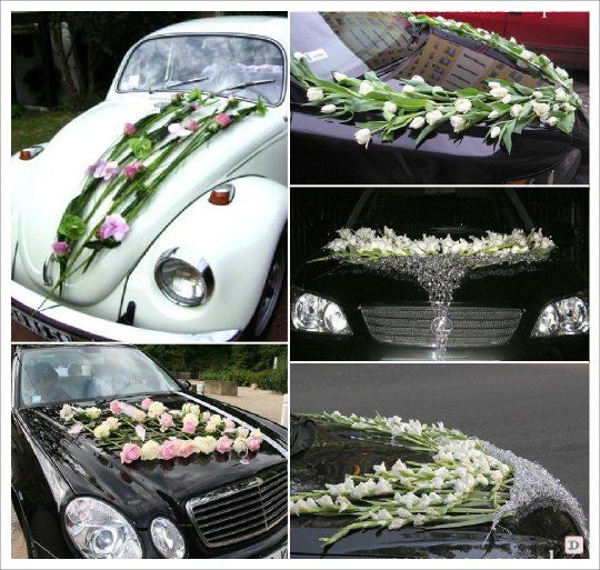decoration voiture mariage composition florale moderne maille fer car decor pinterest. Black Bedroom Furniture Sets. Home Design Ideas