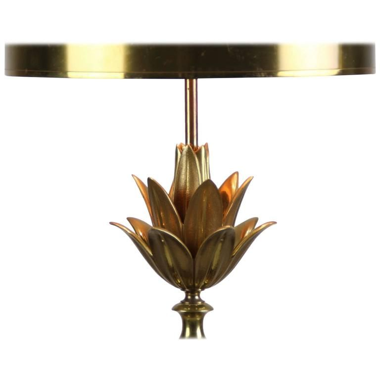 Brass lotus table lamp with metal hood by maison charles lotus brass lotus table lamp with metal hood by maison charles aloadofball Gallery