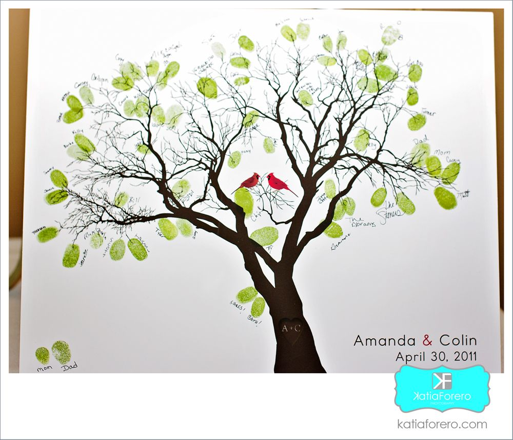 Small Fingerprint Live Oak Tree Wedding Guest Book Hand Drawn: Another Family Tree Version - With Cardinals :)