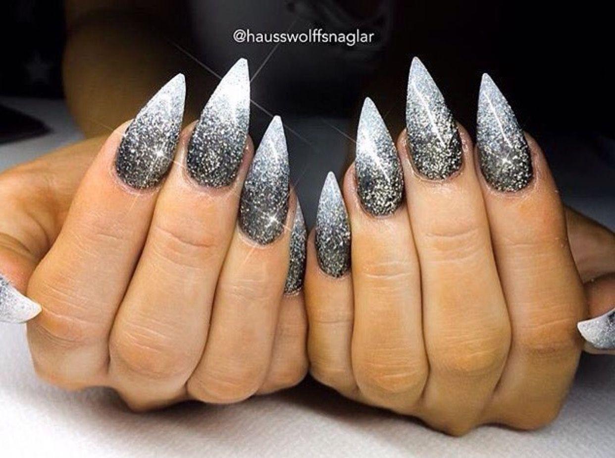 Ombre Black Glitter Stiletto Nails