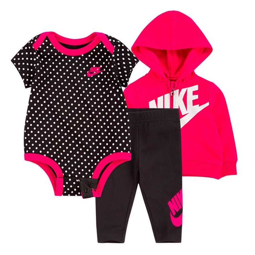 and Hoodie Girl Nike 3 Piece BodysuitZip Pants Set Baby vmIbY6yf7g