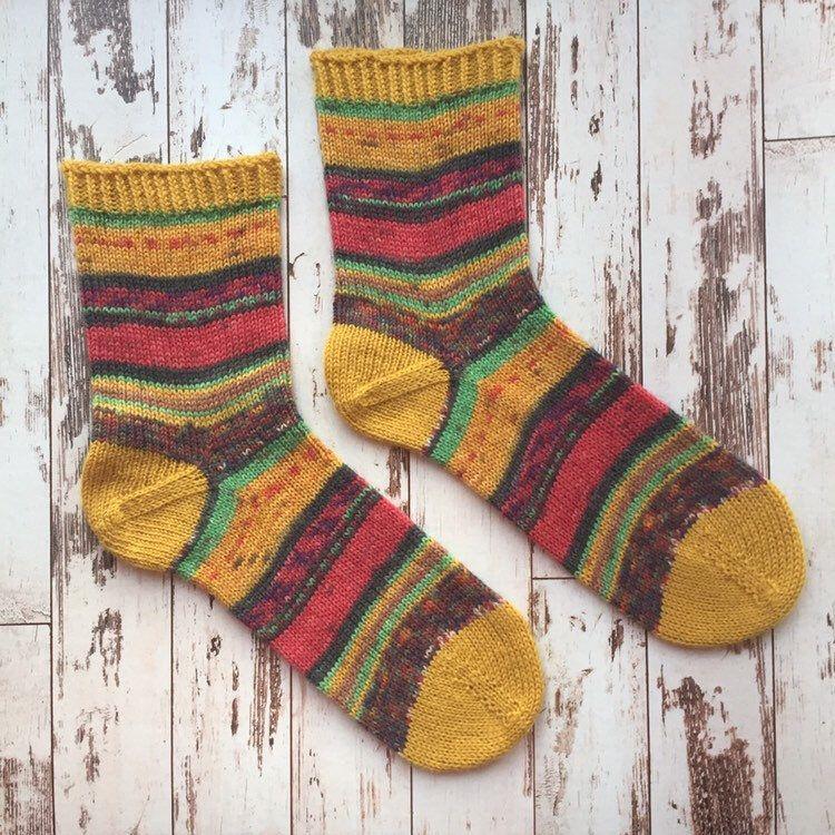Colorful handknitted socks Size 38-39  Knitted Socks  Durable warm Socks  Winter Socks