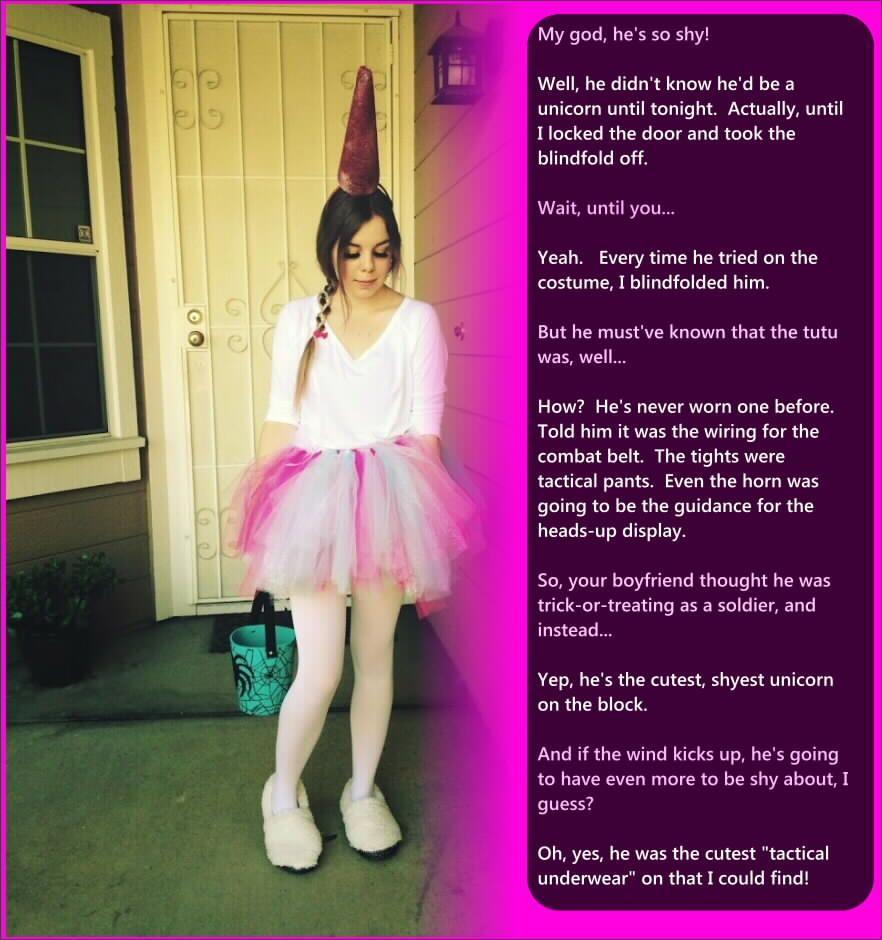 boy dressed as girl caption