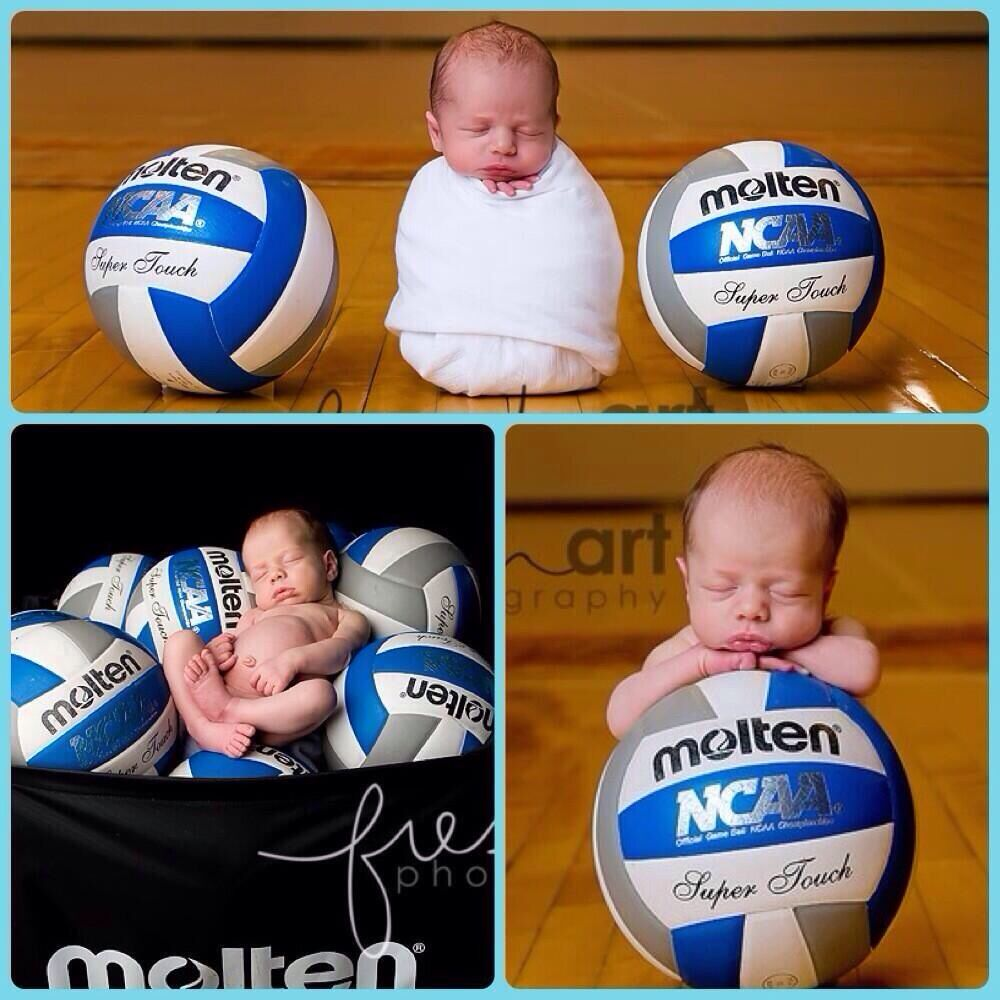 Volleyball We Need To Get A Ball Cart At School So I Can Recreate That Picture Newborn Photography Boy Newborn Photography Girl Newborn Pictures Girl