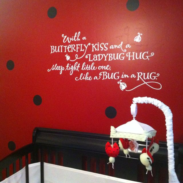 I Like The Red Walls With Black Polka Dots Baby Nursery