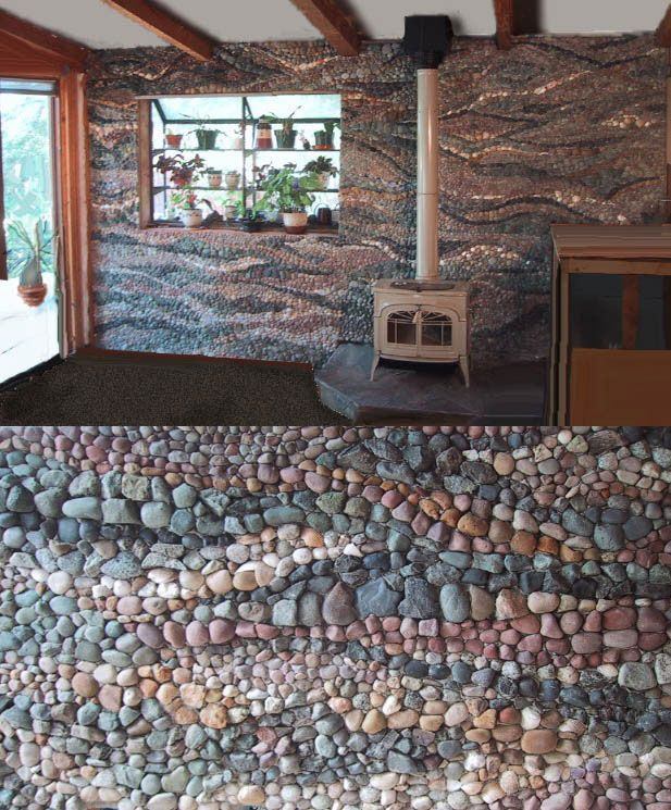 Pebble mosaic residential wall mural ideas for my pebble for How to build a river rock patio