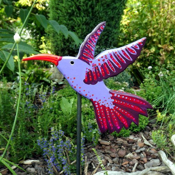 Gartendeko Holz gartenstecker kolibri lila gartendeko holz luigi and craft