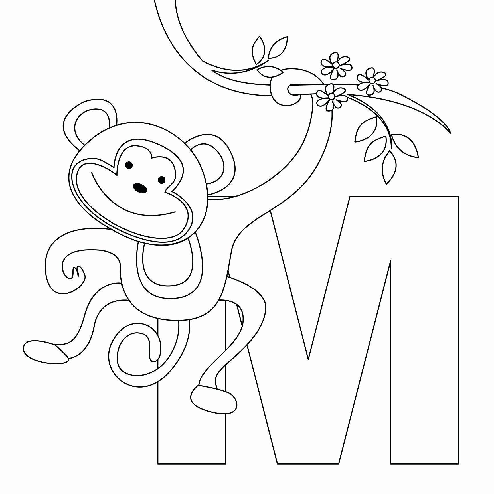 Alphabet Coloring Pages Pdf Alphabet Coloring Pages Monkey