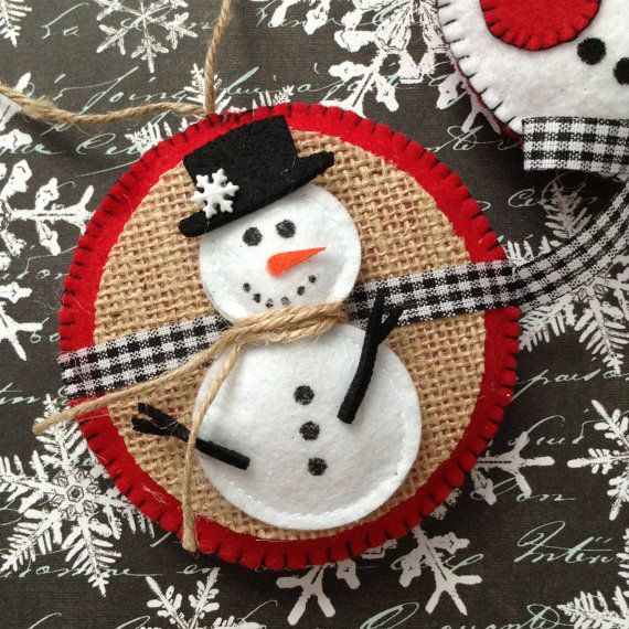 Snowman Ornaments / Felt Christmas Snowman Ornaments / Set of 2