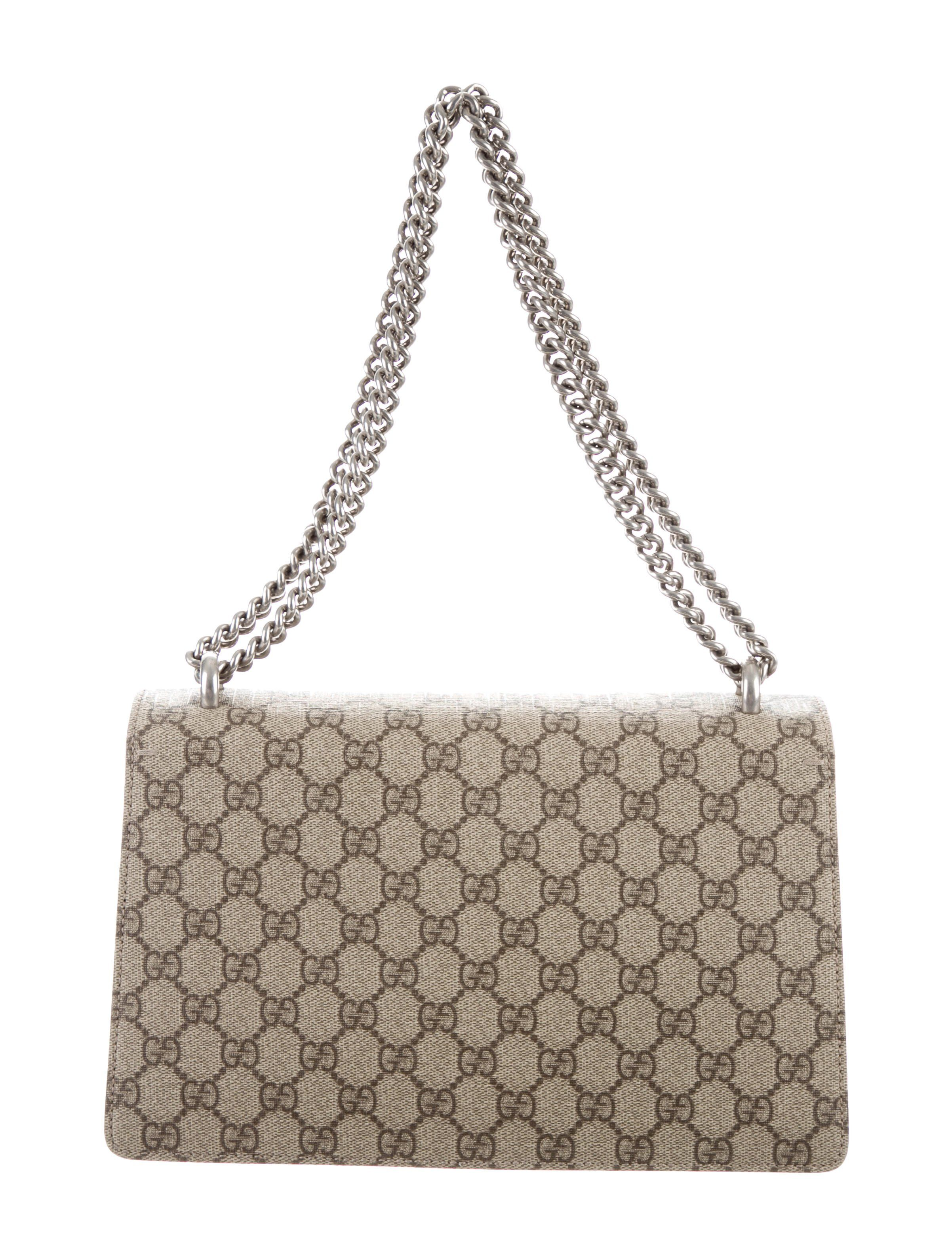 230715fec0c7 Beige and ebony GG Supreme coated canvas Gucci Small Dionysus shoulder bag  with antique silver-tone hardware, beige suede trim, adjustable chain-link  ...