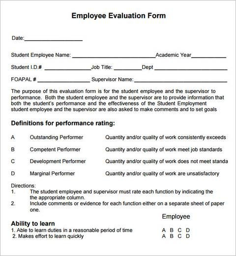 employee evaluation examples Manager Employee evaluation form