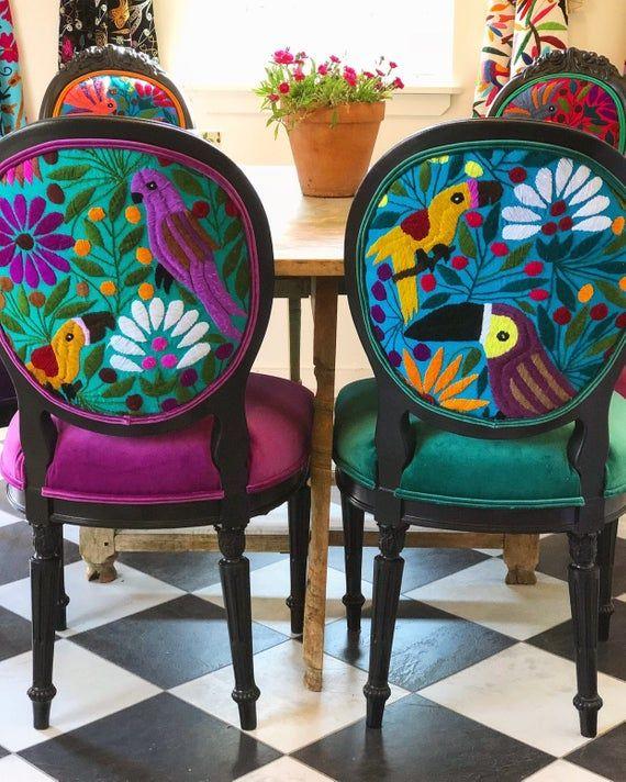 Design Stoelen Outlet.Eclectische Boho Eetkamer Stoelen Funky Painted Furniture Funky