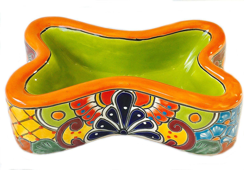 Mexican Talavera Ceramic Dog Bowl Bone Shape Orange Rim Lime Green Center Check Out The Image By Visiting The Link Ceramic Dog Bowl Dog Bowls Dog Feeding