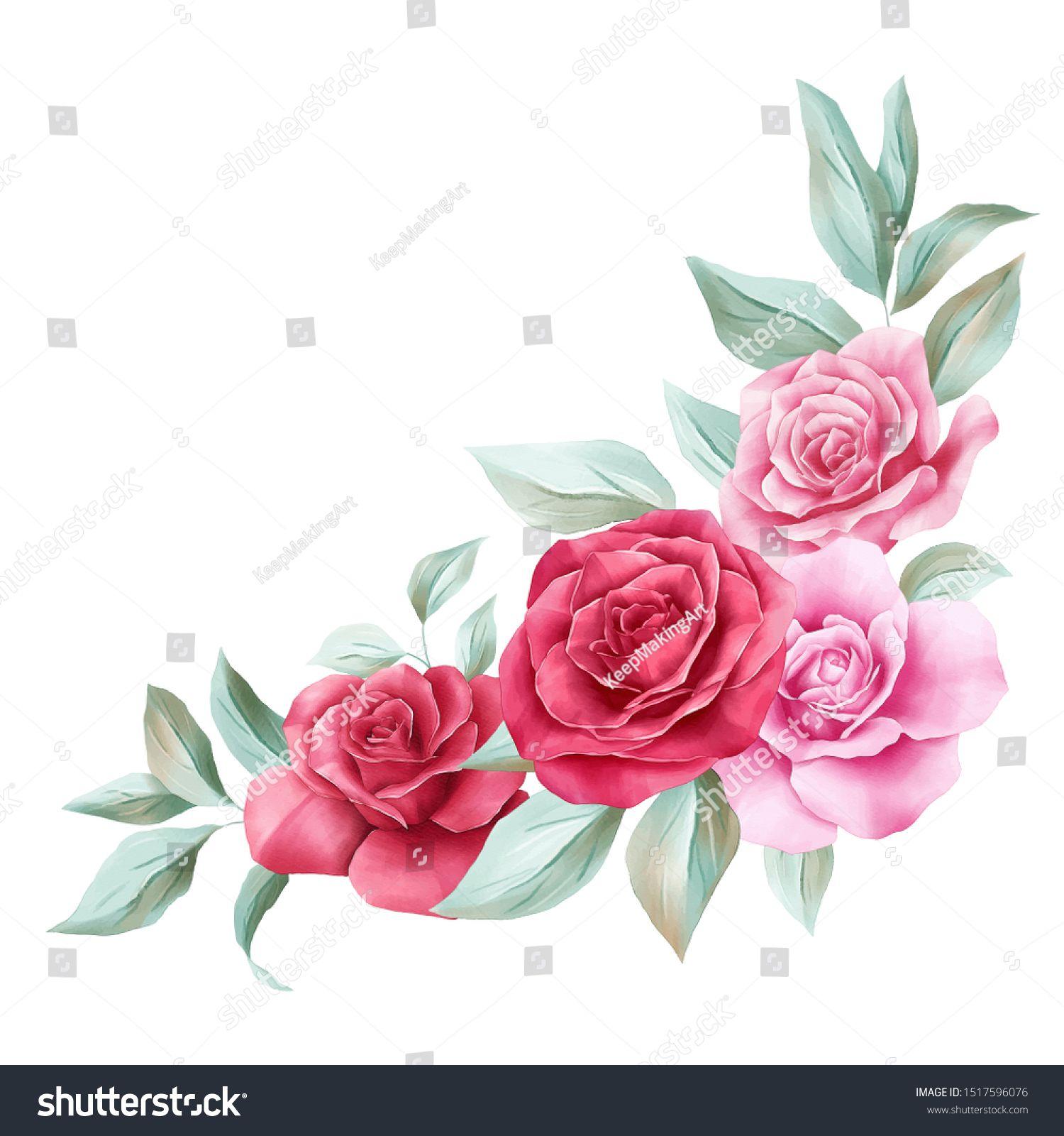 Downloadable Watercolor Rose Border Watercolor Rose Flower Art