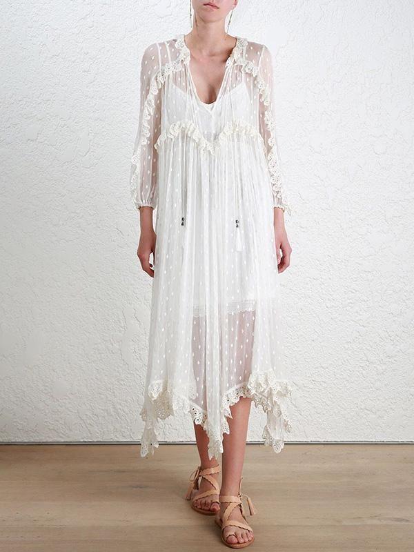 f7d0513e9583c Pretty V-neck Long Sleeves Maxi Dresses