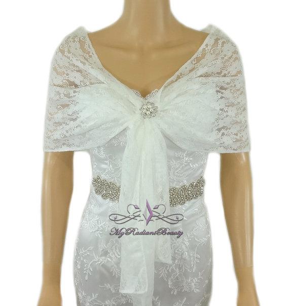 Bridal Lace Wrap Ivory Lace Shawl Bridal Silk by MyRadiantBeauty