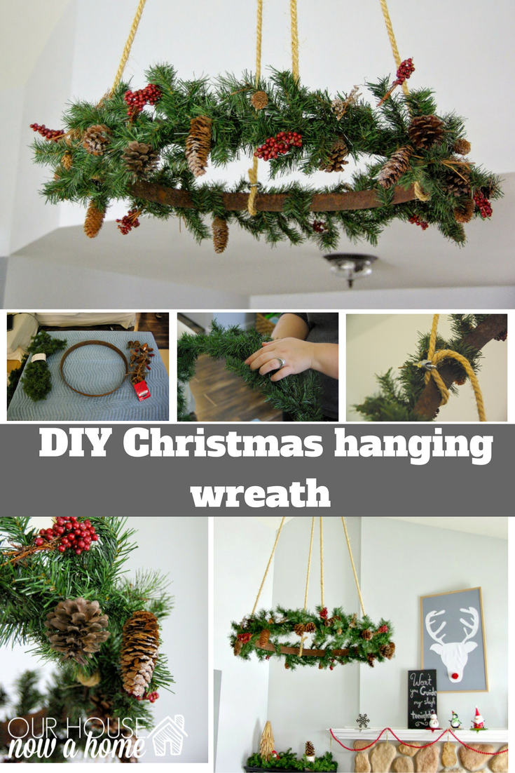 Ceiling Hanging Christmas Wreath Our House Now A Home Christmas Wreaths Christmas Decor Diy Christmas Diy