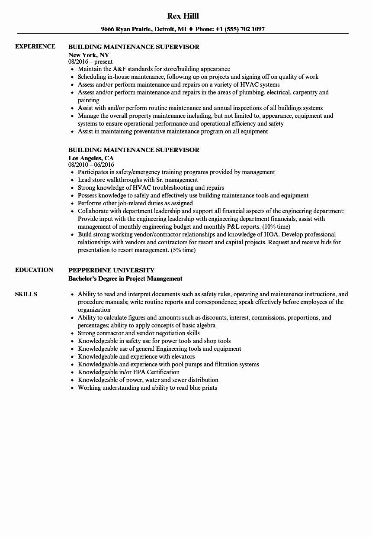 Building Maintenance Worker Resume Beautiful Building Maintenance Supervisor Resume Samples In 2020 Job Resume Samples Building Maintenance Resume
