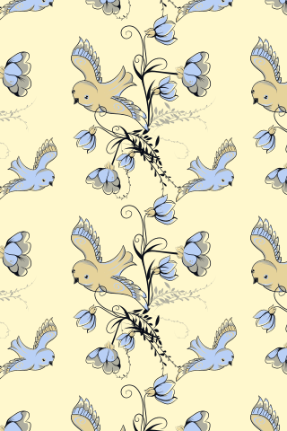 """Lil Yellow-Blue Bird"" by tyblogdesign. To have a colourlovers pattern printed on fabric, go to http://www.colourlovers.com/store/fabric"