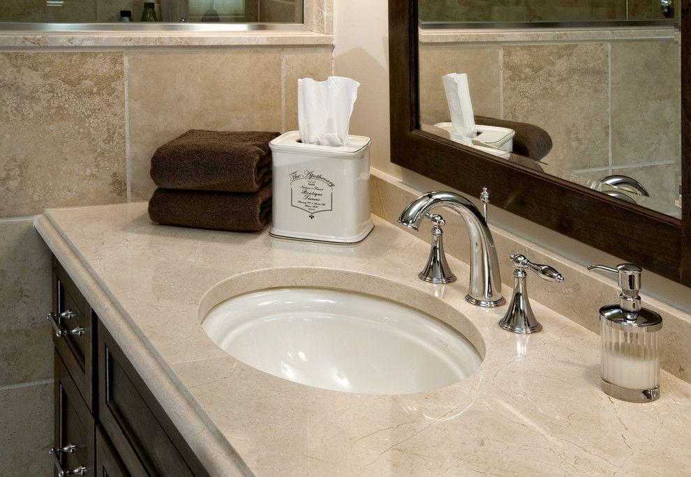 kohler devonshire Bathroom Traditional with crema marfil countertop Crema Marfil marble dark