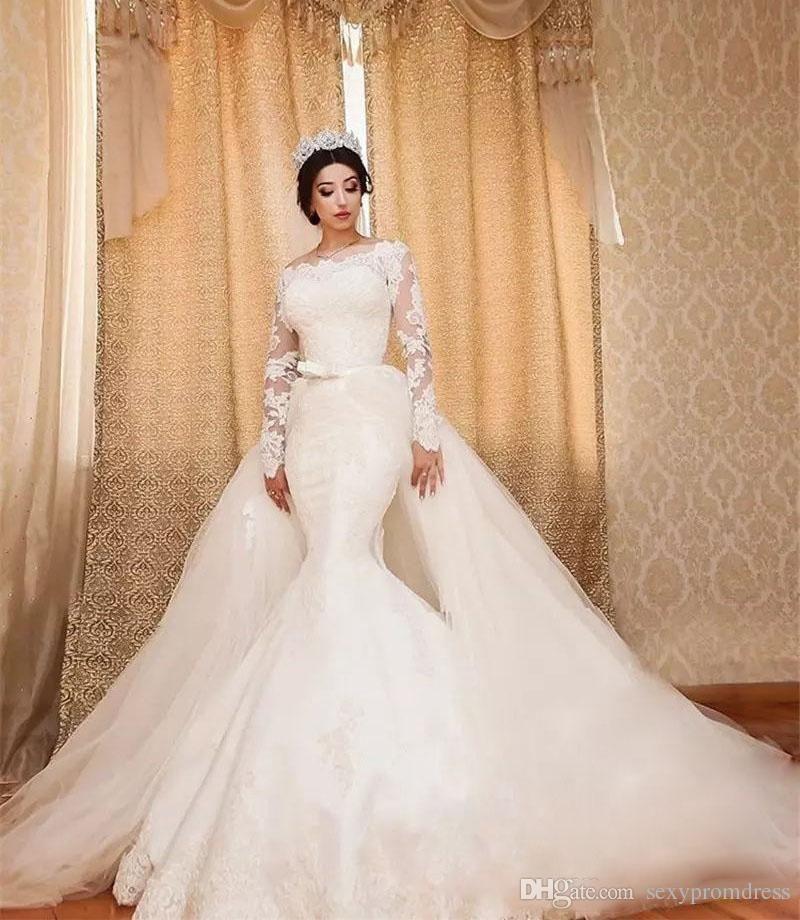 Detachable Train Wedding Dresses Lace Long