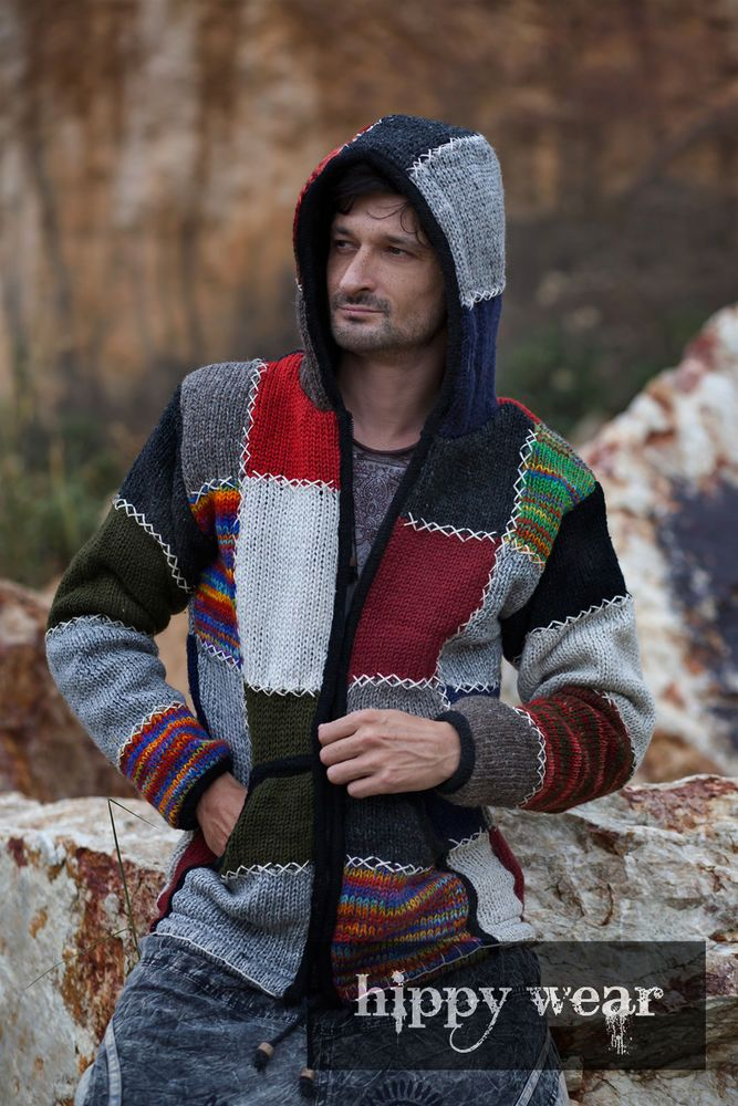 2eba00d527 Mens Patchwork Hippie Boho Knitted Rainbow Wool Winter Nepalese ...