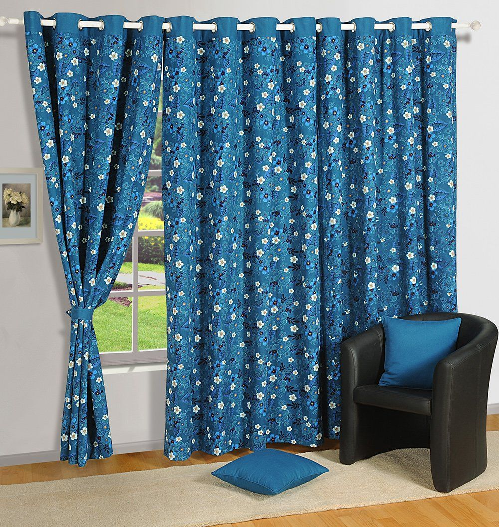 Buy Swayam Printed Eyelit Door Curtain Turquoise Curd