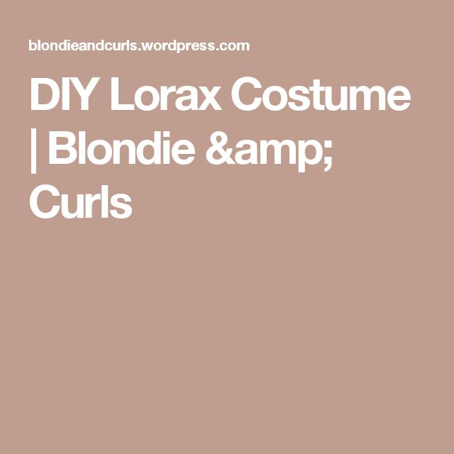 Diy lorax costume lorax costume and lorax diy lorax costume blondie curls solutioingenieria Image collections